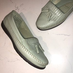 Shoes - Dr Scholls Leather Loafers Moccasins Olive Green
